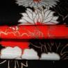 Furoshiki 50x50 noir - Grues Tanchô. Carrés de tissus japonais.