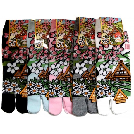 Tabi socks - Size 35 to 39 - Minka prints. Split toe socks.
