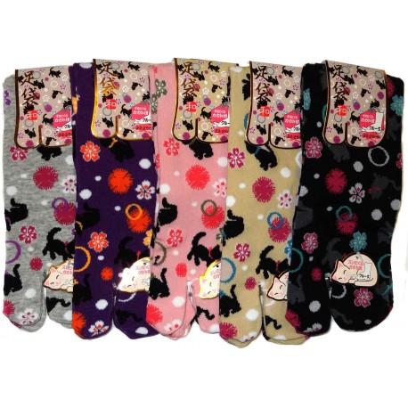 Chaussettes japonaises Tabi - Du 35 au 39 - Chatons. Chaussettes japonaises à orteils séparés