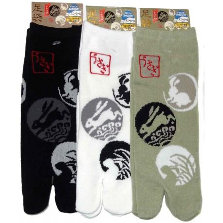 Chaussettes japonaises tabi - Du 39 au 43 - Usagi Kamon. Chaussettes à orteils séparés.