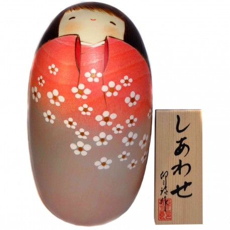Kokeshi doll - Shiawase. Traditional Japanese wooden dolls.