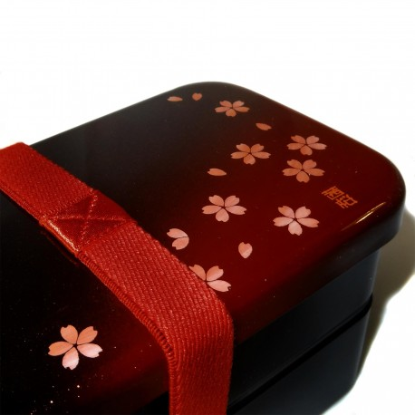 Bento Lunch box - Dark red - Akane sakura motifs