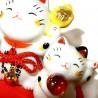 Triplette Maneki Neko blanc - 8 cm. Chats porte bonheur