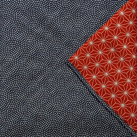 Furoshiki Japanese cloth 105x105 - reversible - Seigaha and Asanoha