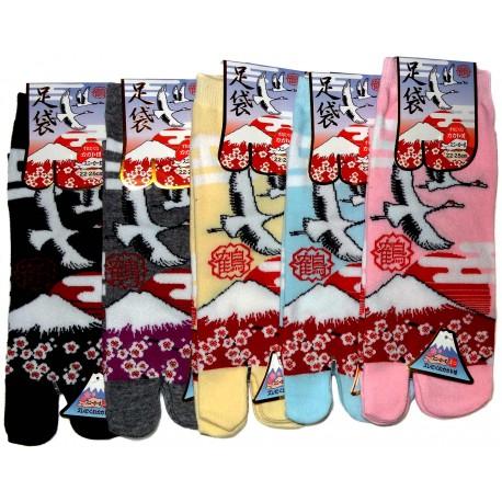 Tabi socks - Size 35 to 39 - Tsuru Fuji. Flip flop split toes socks.