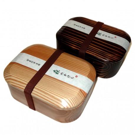 Boite à bento en bois laqué. Boite repas japonaise.
