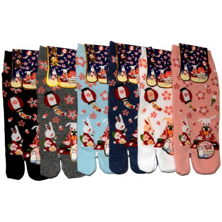 Tabi socks - Size 35 to 39 - Usagi Hanami print. Split toes socks.