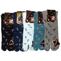 Short crew Tabi socks - Size 39 to 43 - Asa no Ha and dragonflies print