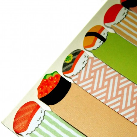 Sushi sticky bookmarks. Japanese stationery.