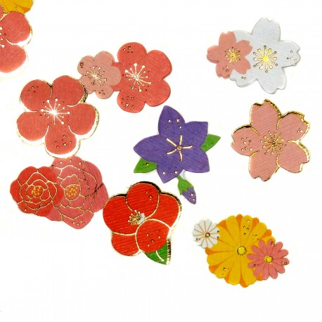 Hana flowers stickers. Japanese stationery items and products.