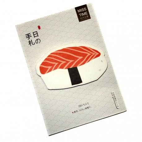 Post-it saumon sushi. Articles et produits de papèterie japonaise.