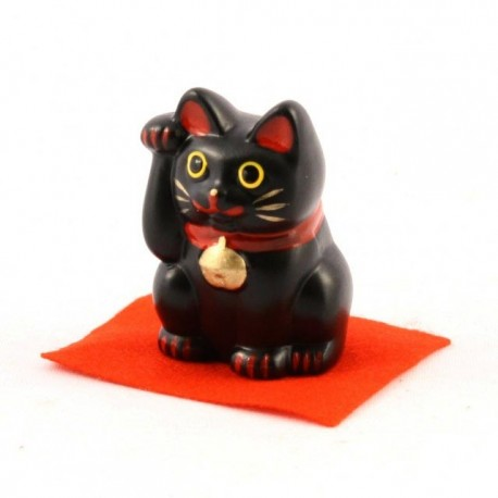 Black Maneki Neko lucky cat - right paw - 5cm