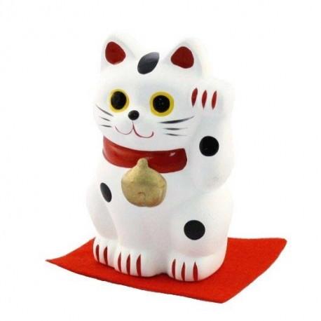 Chat porte-bonheur Maneki Neko blanc - Patte gauche - 7cm