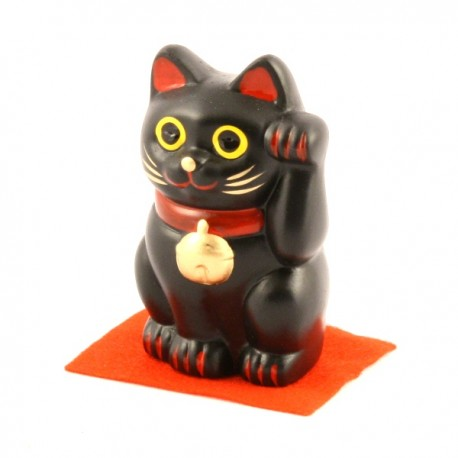 Black Maneki Neko lucky cat - left paw - 7cm