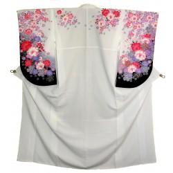Kimono blanc en polyester - Motifs floraux