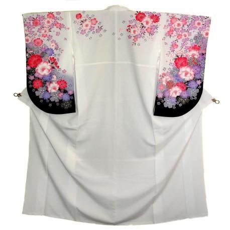 White polyester kimono - Floral patterns