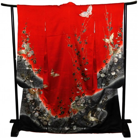 Furisode kimono - Red - Butterflies and plum blossoms