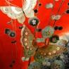 Kimono Furisode rouge - Papillons et pruniers