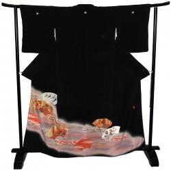 Kimono noir de cérémonie - motifs Ôgimon