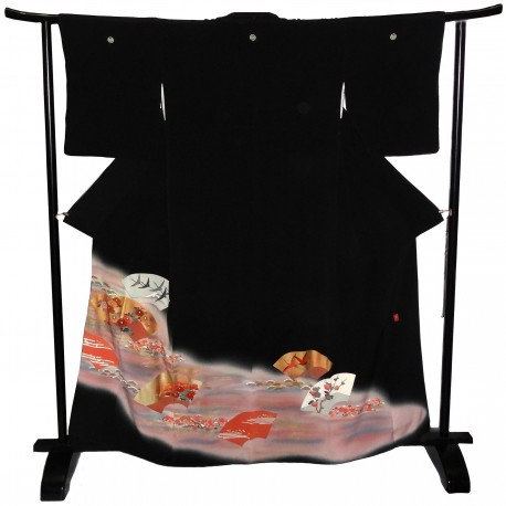 Tomesode Kimono noir de cérémonie - motifs Ôgimon