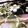 Fukuro obi noir en soie - motifs Sakura. Ceinture de kimono.