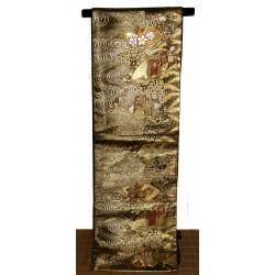Fukuro obi doré en soie - Motifs Goshoguruma et Ôgimon