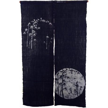Linen indigo Noren - Bamboos