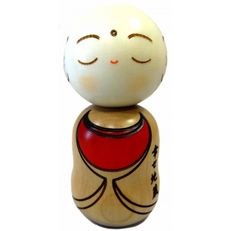 Kokeshi doll - Shiawase Jizo. Wooden Japanese doll