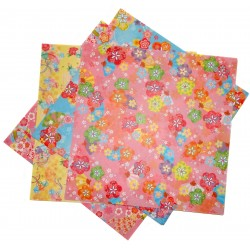 Papier origami RV 15 x 15 cm - 28 feuilles motifs floraux