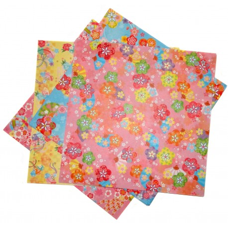 Origami paper 15 x 15 cm - floral prints. Japanese stationery.