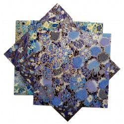 Papier japonais washi yuzen 15 x 15 cm - 5 feuilles