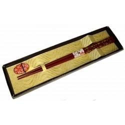 Red chopsticks and holder  - Sakura
