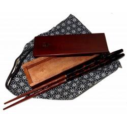 Baguettes en bois laqué - Keitai hashi - Noir