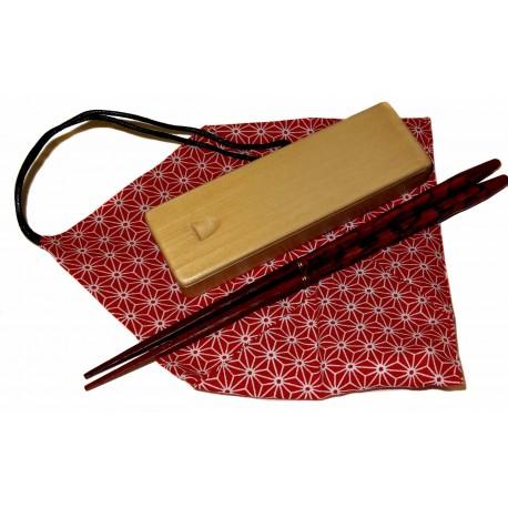 Lacquered wood chopsticks Keitai hashi - Red