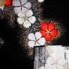 Furoshiki 50x50 black - Usagi rabbits. Japanese cloths and fabrics.
