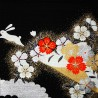 Furoshiki 50x50 noir - Lapins usagi. Tissus  et textile japonais.