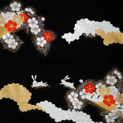 Furoshiki 50x50 noir - Lapins usagi