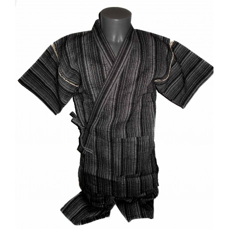 Tunique japonaise Jinbei 98 noir chiné - Taille LL - Coton