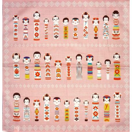 Furoshiki 50x50 rose - Poupées kokeshi. Tissu et textile japonais.