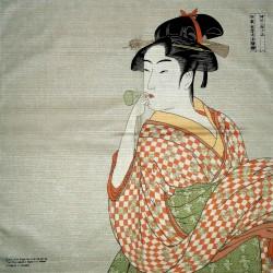 Furoshiki 50x50 - La femme soufflant dans un poppin
