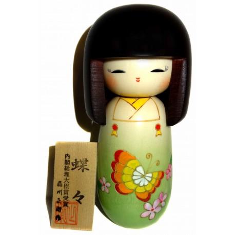 Poupée Kokeshi - Papillons. Poupées japonaises artisanales en bois.