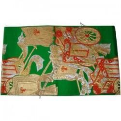 Obi vert en soie broché - Goshoguruma