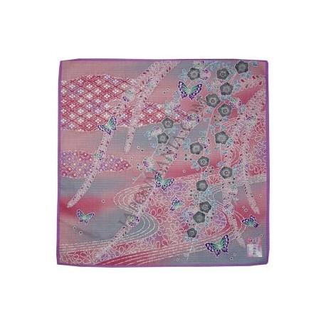 Furoshiki 50x50 pink - floral and butterflies prints