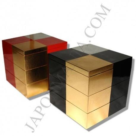 Boite à bento Jûbako 3 étages - Feuilles d'or et d'argent