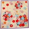 Furoshiki 50x50 crème - Motifs floraux