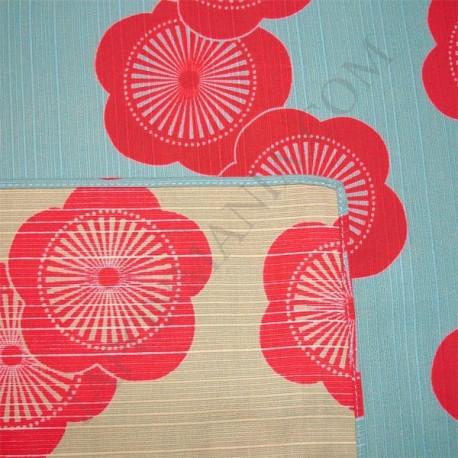 Furoshiki réversible 48x48 - Fleurs de prunier