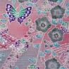 Furoshiki 50x50 rose - motifs floraux et papillons