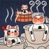 Tenugui Fuku Neko' Collection - At the Onsen