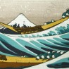 Furoshiki 50x50 beige - Hokusaï's Great Wave