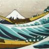 Furoshiki tissu 48x48 beige - Grande vague d'Hokusai